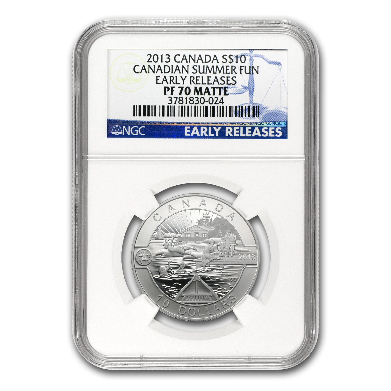2013 1/2 oz Silver Canadian $10 Summer Fun - PF-70 Matte NGC (ER)